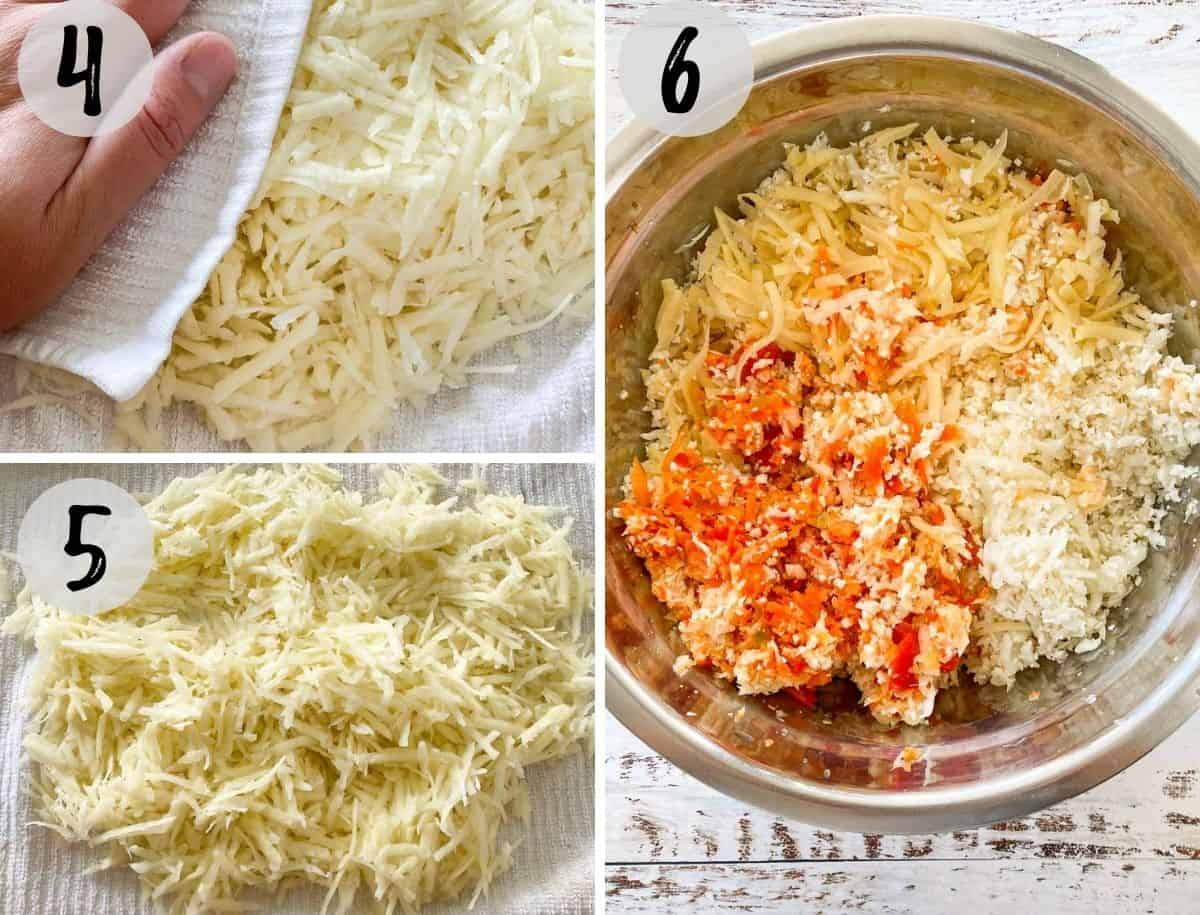 Shredded potatoes being dried on dish towel and then added to large mixing bowl.