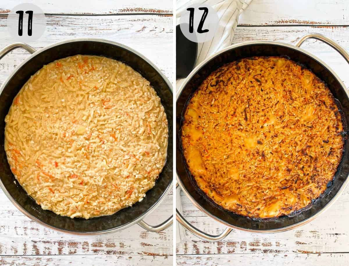 Vegan hash brown casserole before and after baking.