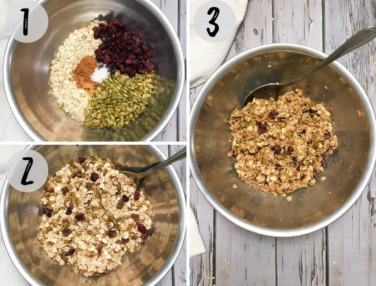 Mixing bowl with ingredients to make cookies into a batter.