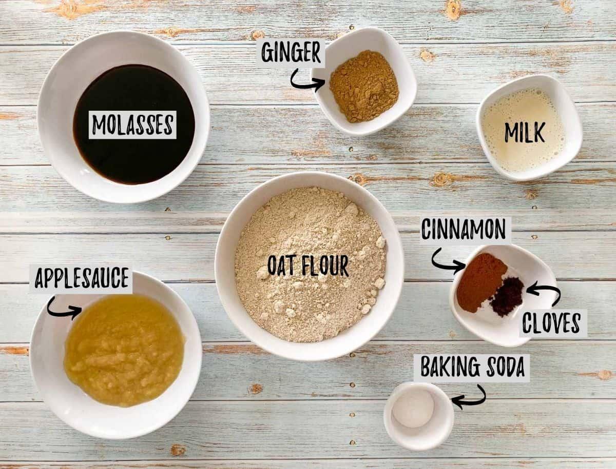 Ingredients to make vegan ginger cookies.