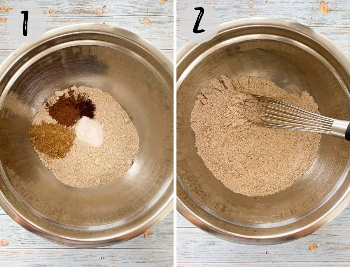Mixing bowl filled with dry ingredients.