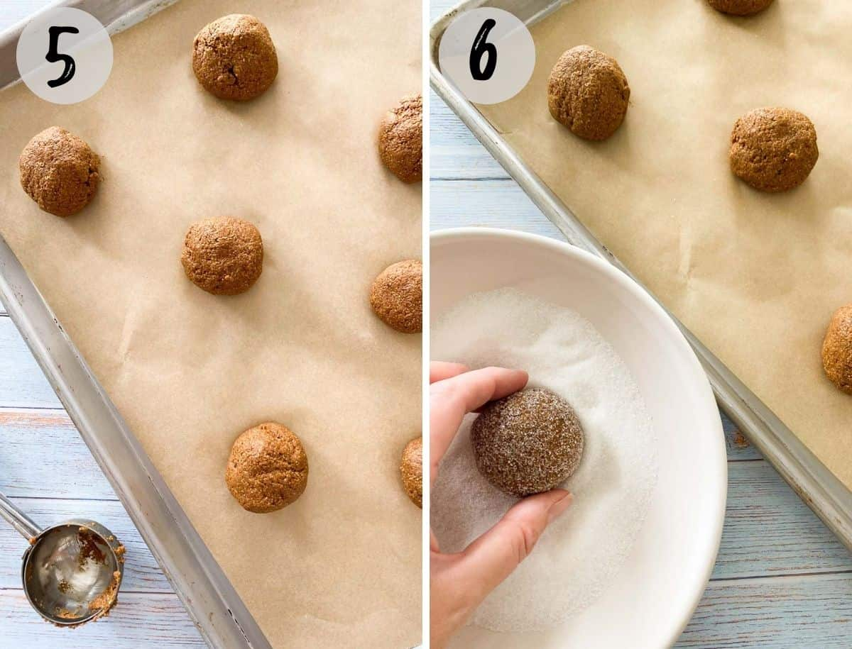 rolling cookie dough balls in sugar and placing them on cookie sheet.