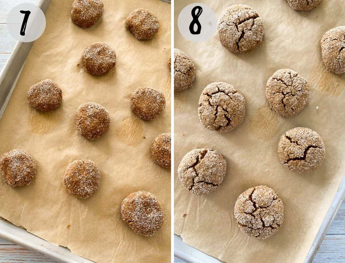 vegan ginger cookies on baking sheet before and after baking.