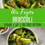 air fryer broccoli PIN with text overlay.