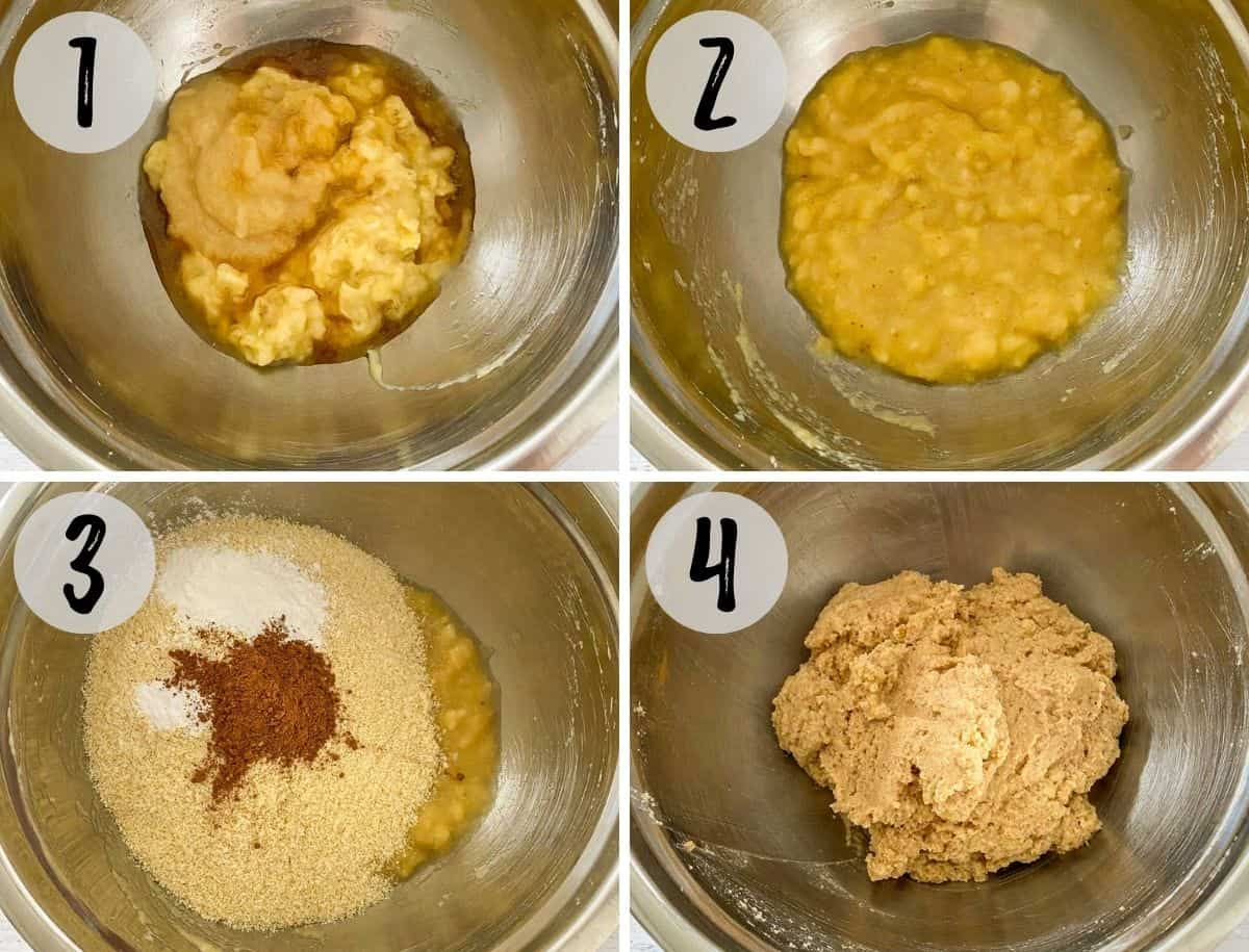 Mixing bowl with wet ingredients being mixed and then dry ingredients added to make batter.