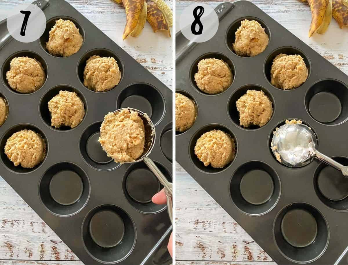 Muffin pan being filled with muffin batter before baking.