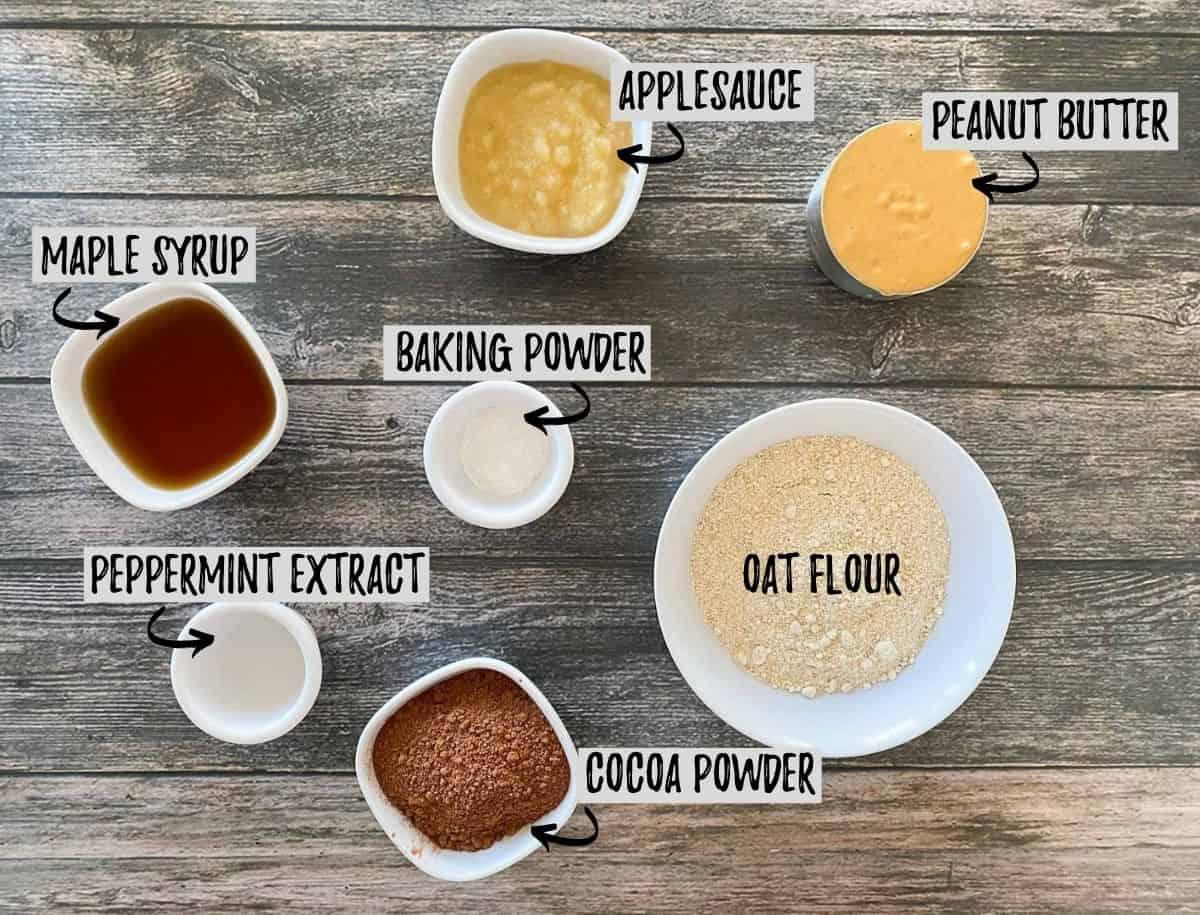 Ingredients needed to make brownie peppermint cookies.