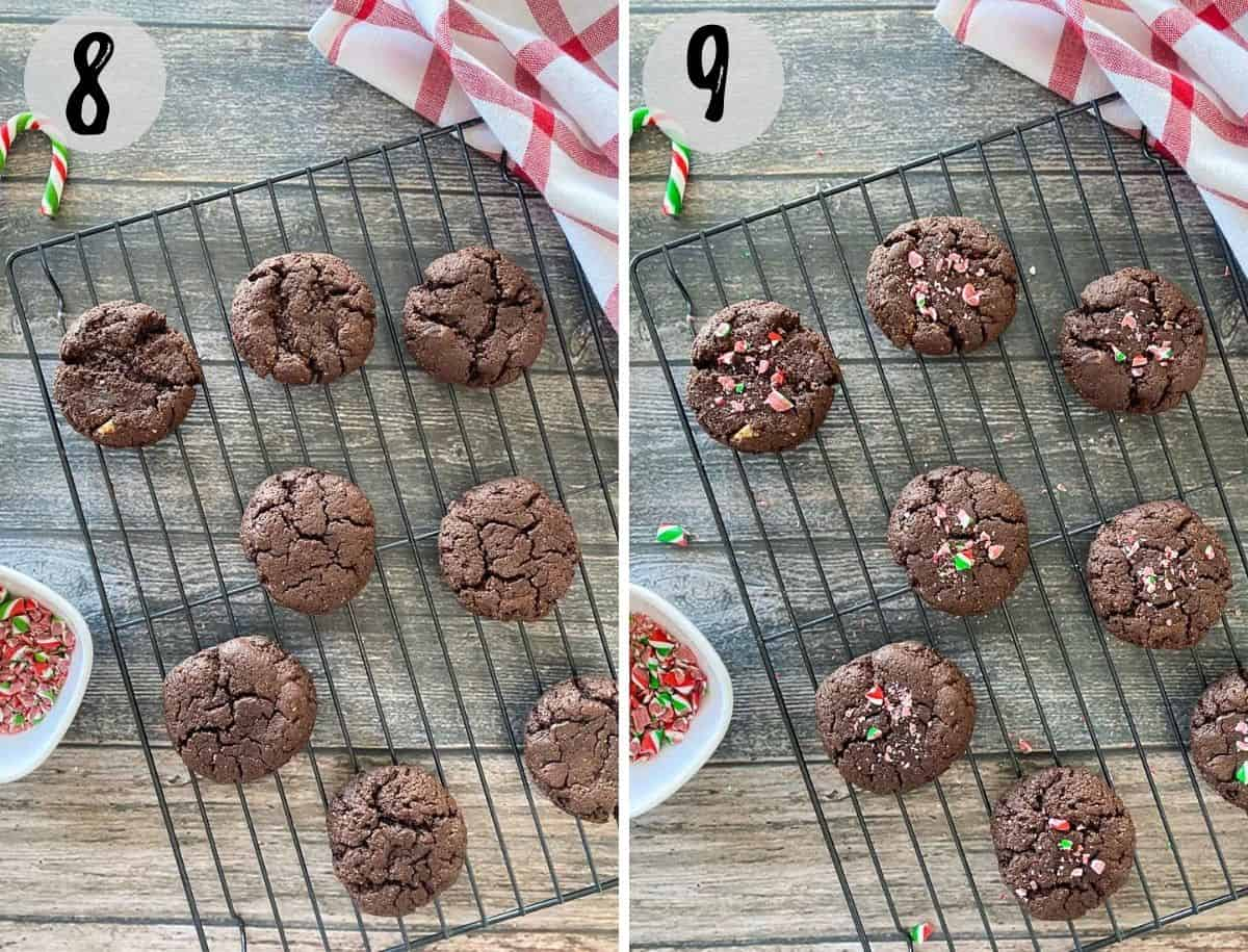 Brownie cookies before and after sprinkling candy cane pieces on top.