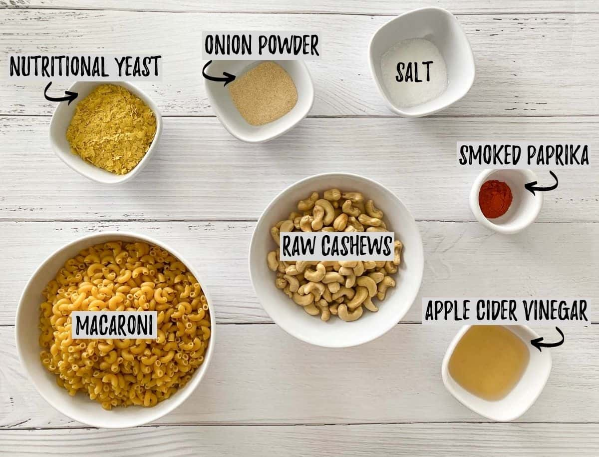Ingredients to make instant pot vegan mac and cheese.