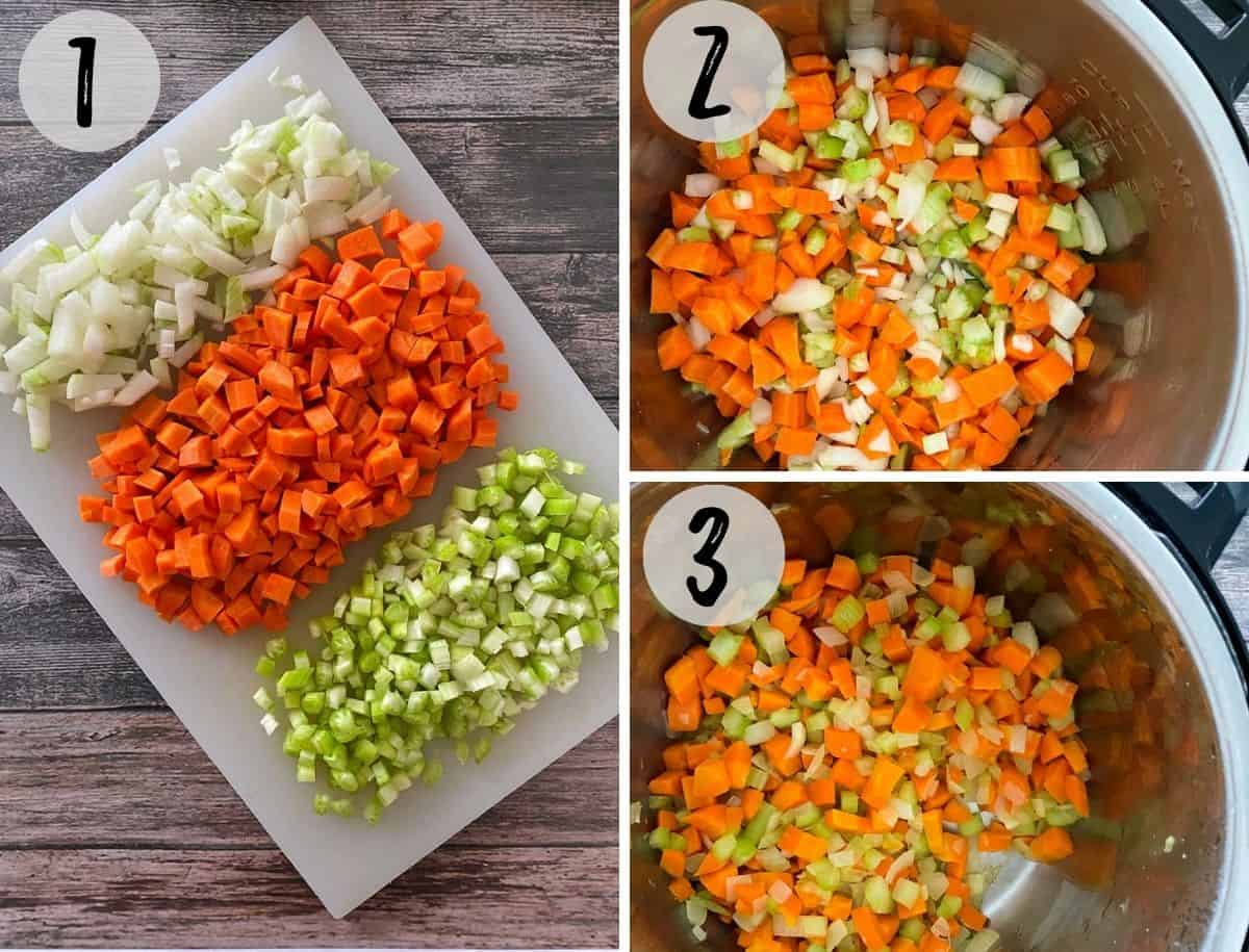 Chopped onion, carrot and celery on cutting board, and then transferred to pot.