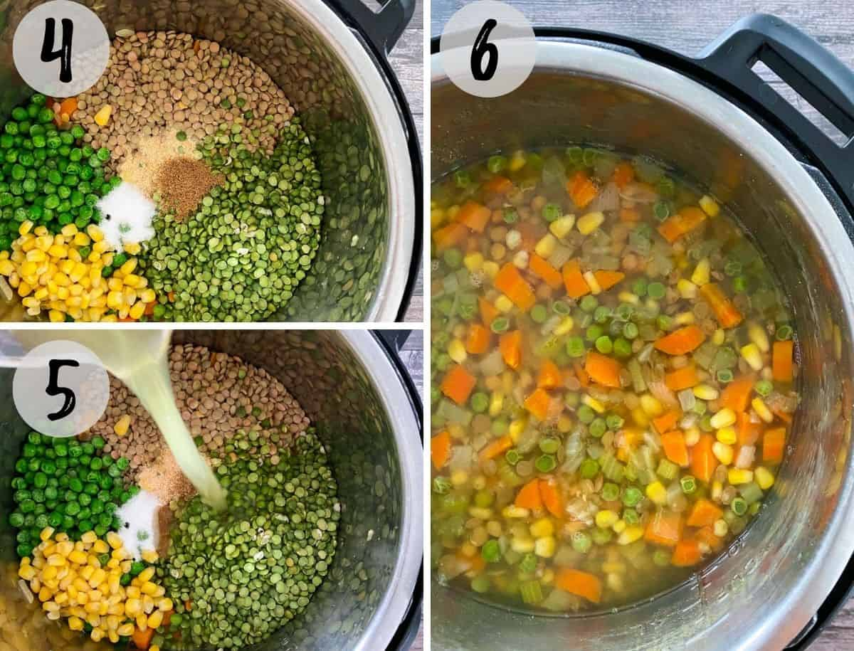 Lentils, split peas and veggies in Instant Pot before and after cooking.