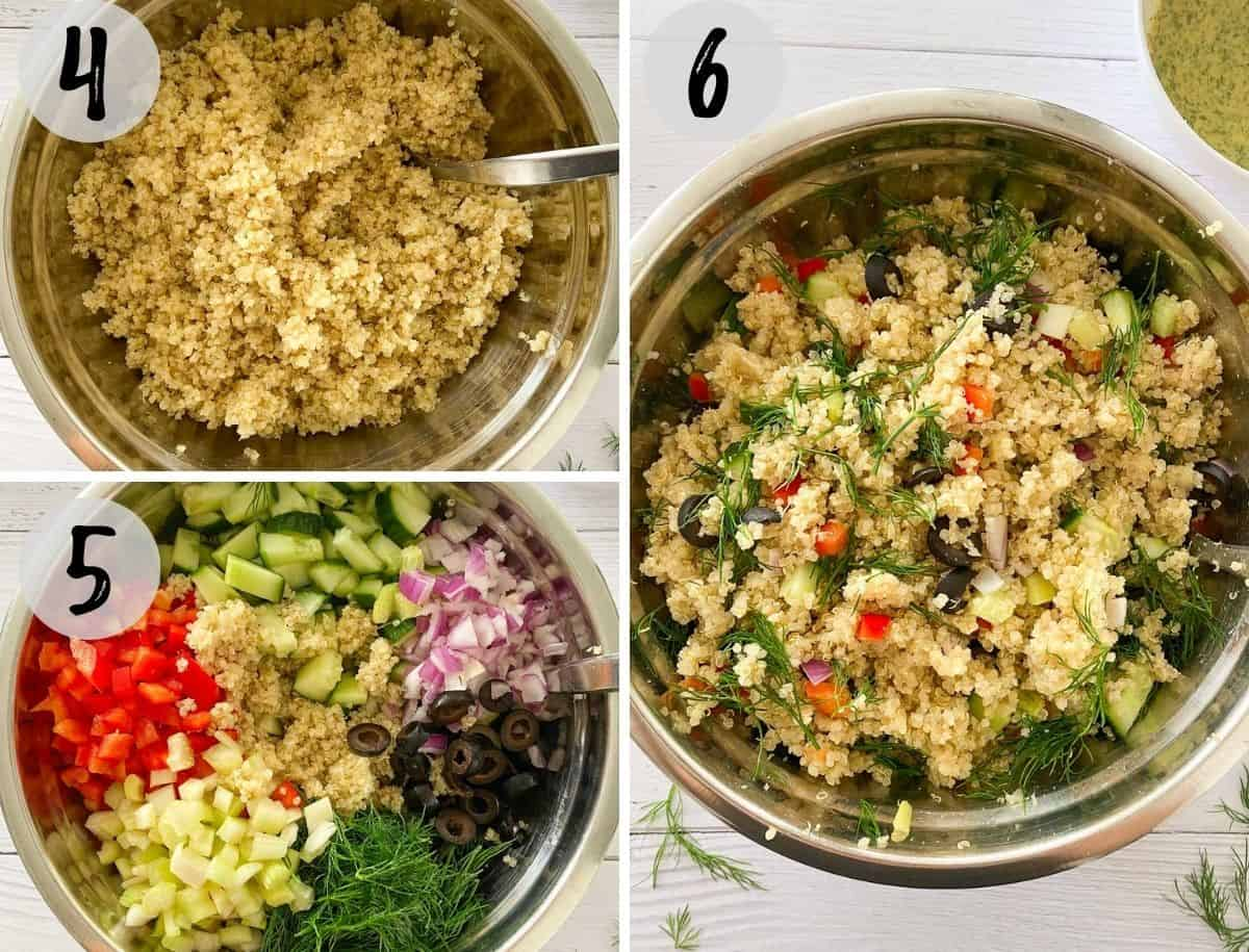 Large bowl with quinoa, then veggies added on top, and then mixed.