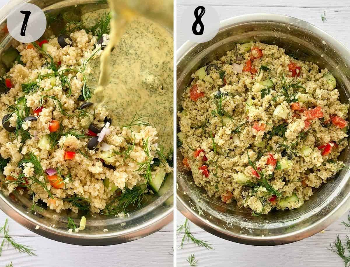 Salad dressing being poured on top of quinoa salad and then mixed.