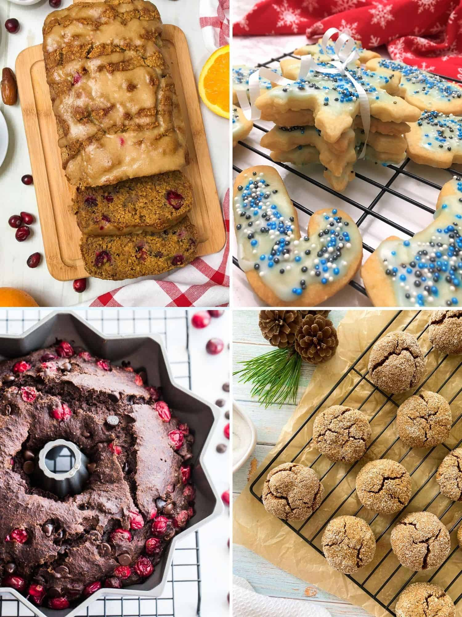 Collage of desserts: cranberry loaf, cookies and bundt cake