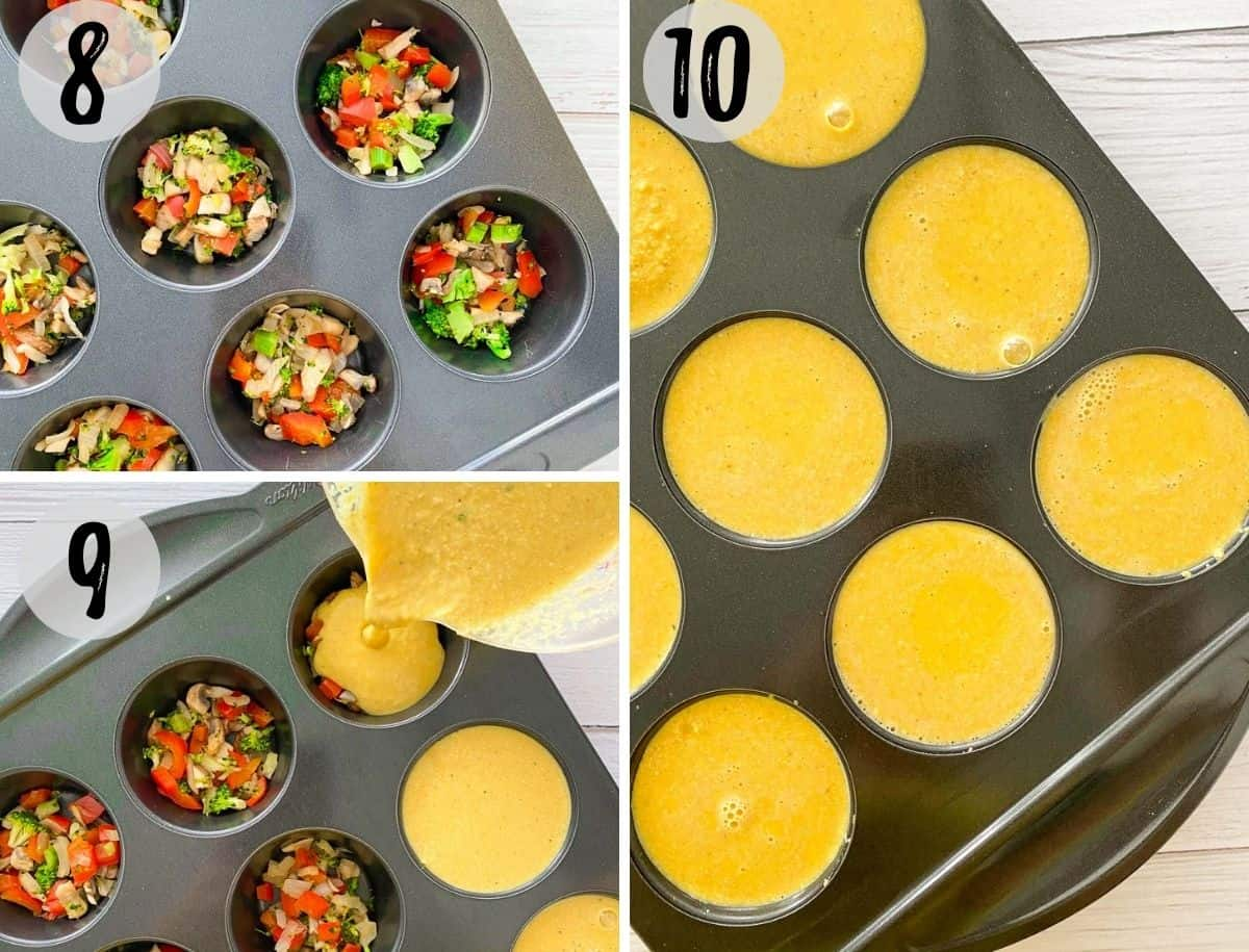 Muffin pan with veggies inside and batter being poured on top.