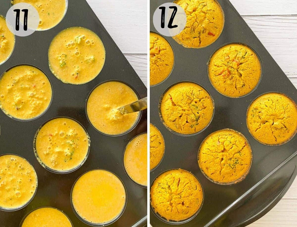 Vegan frittata muffins in muffin pan, before and after baking.