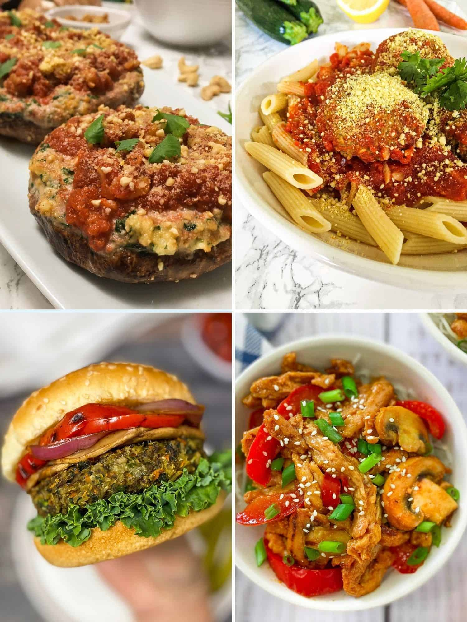 Collage of 4 vegan dinner recipes: stuffed mushrooms, pasta, burger and stir fry.