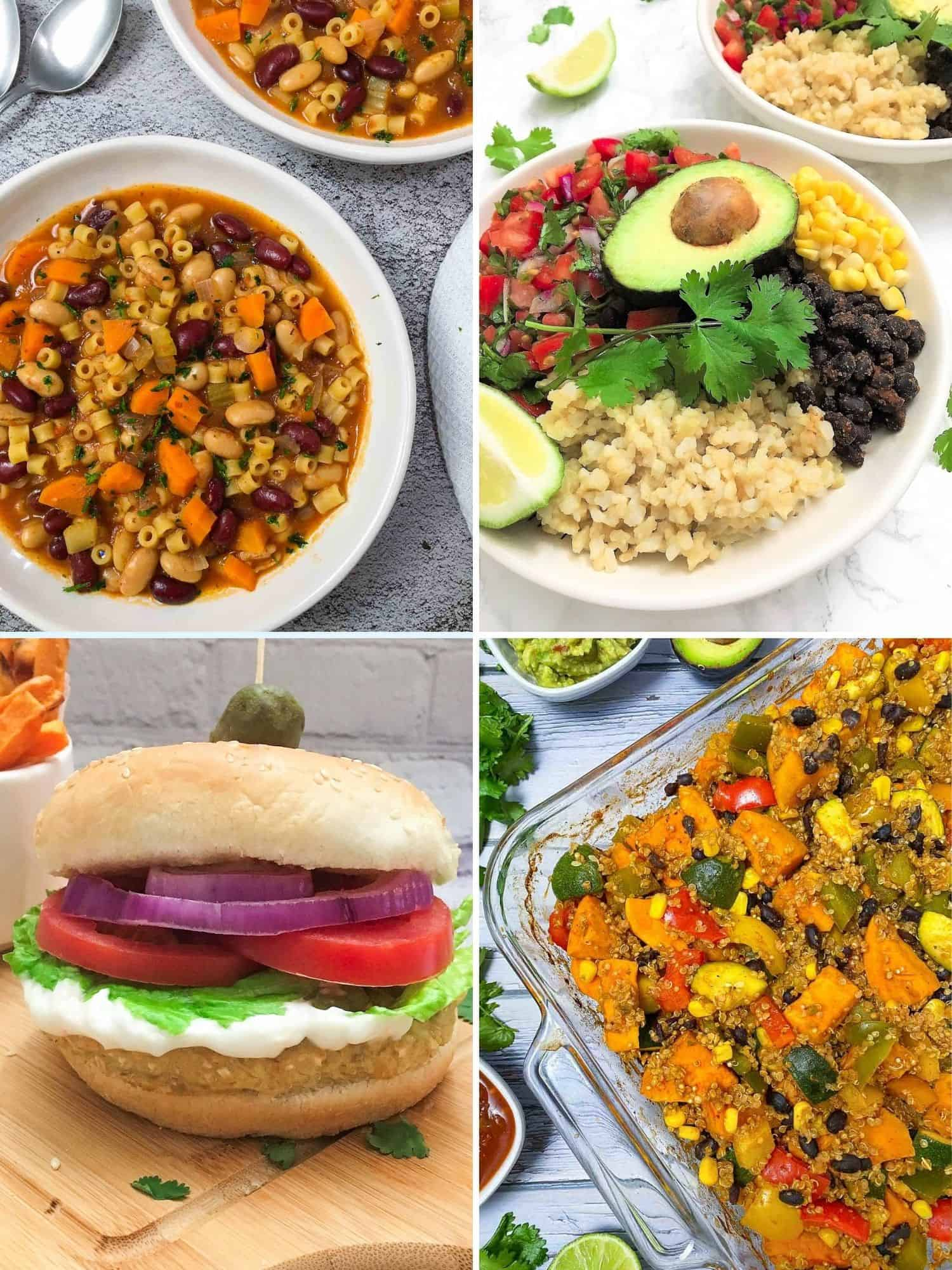 Collage of 4 vegan dinner recipes: pasta and beans, buddha bowl, burger, casserole.
