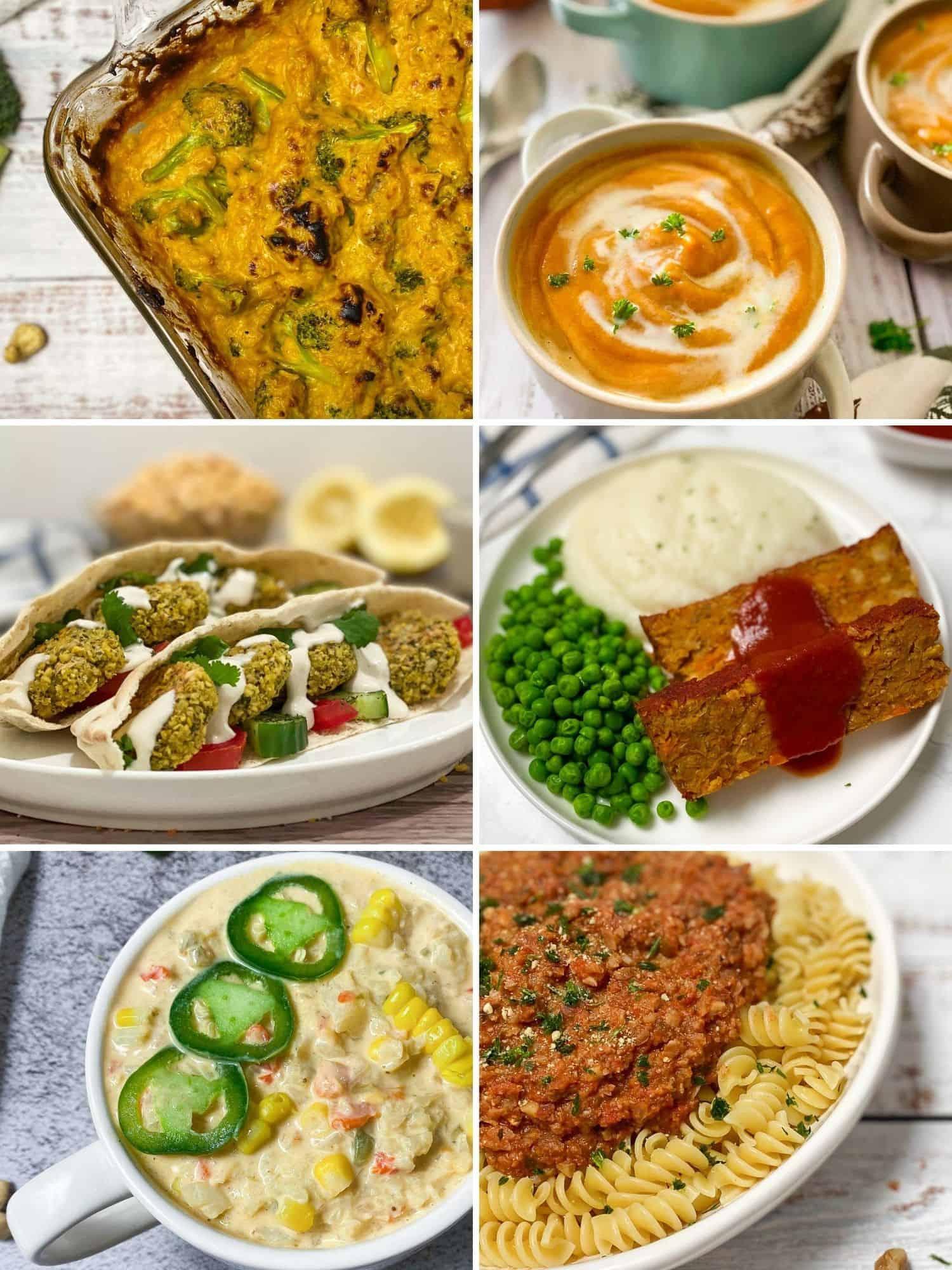 Collage of 6 dinner recipes: casserole, soup, falafel, meatloaf, chowder, pasta.