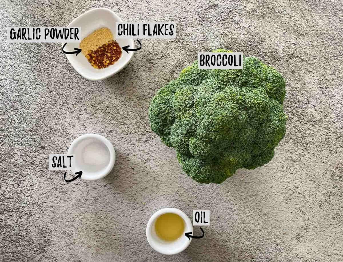 Ingredients needed to make air fryer broccoli.