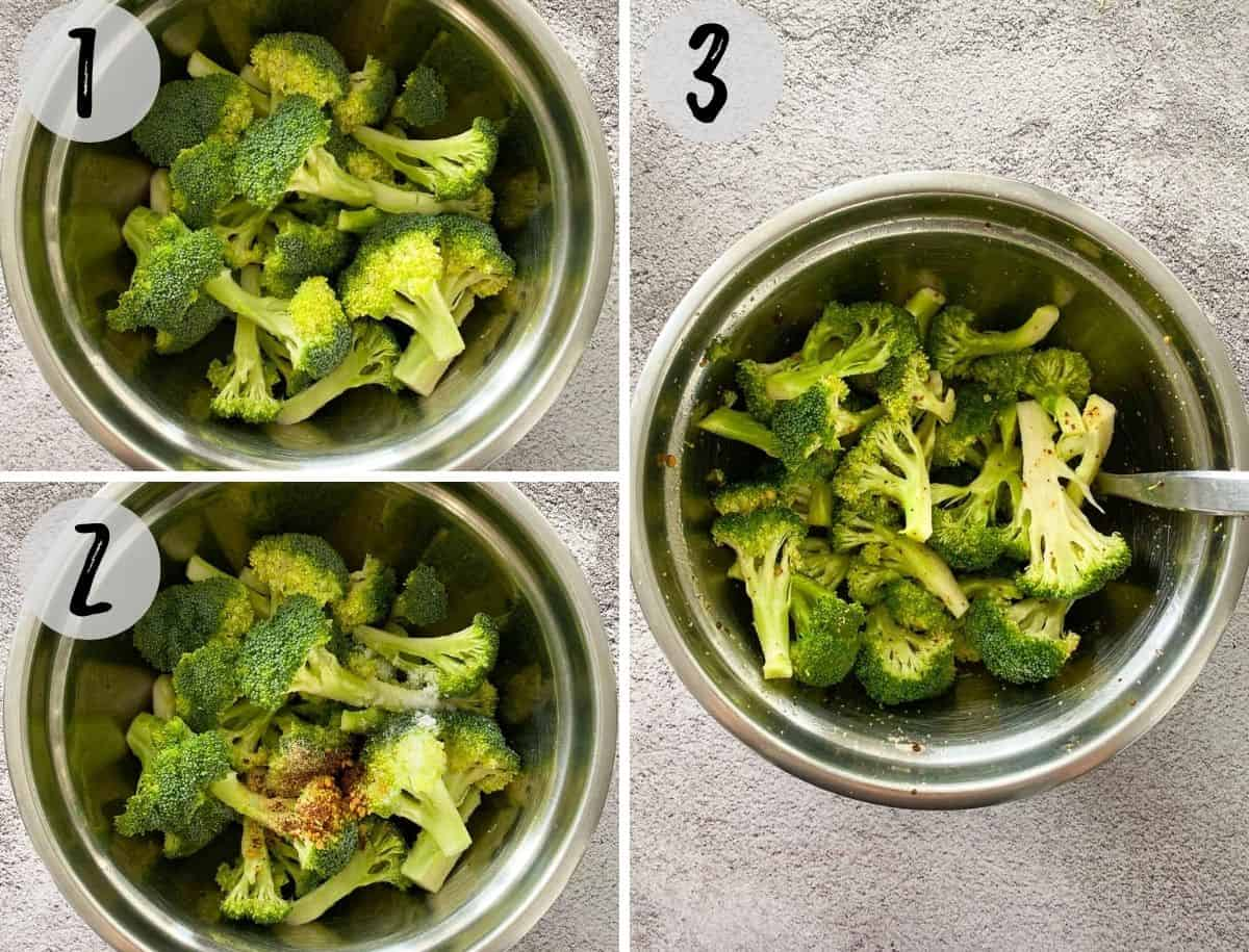 Raw broccoli in mixing bowl being mixed with oil and seasoning.