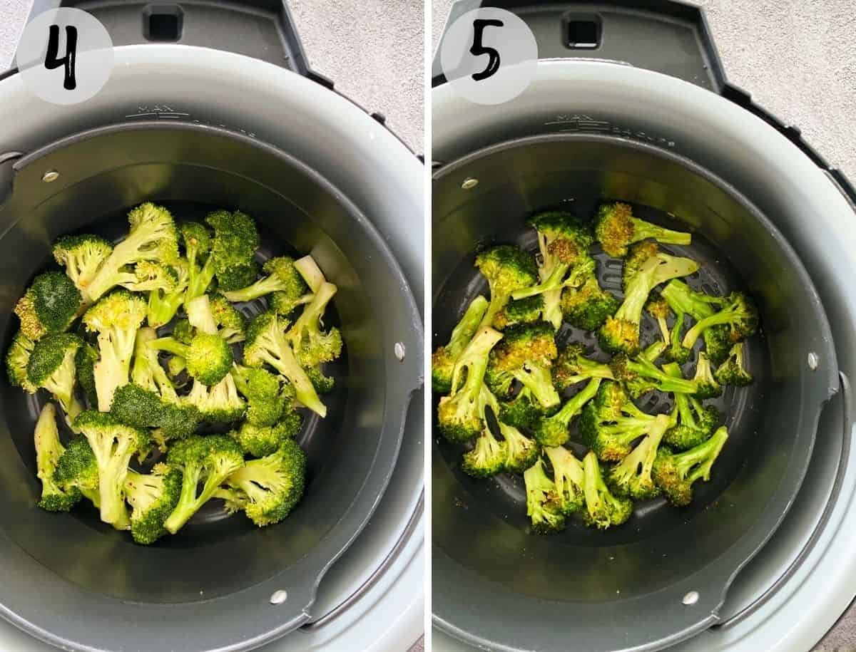 Broccoli in air fryer basket before and after cooking.