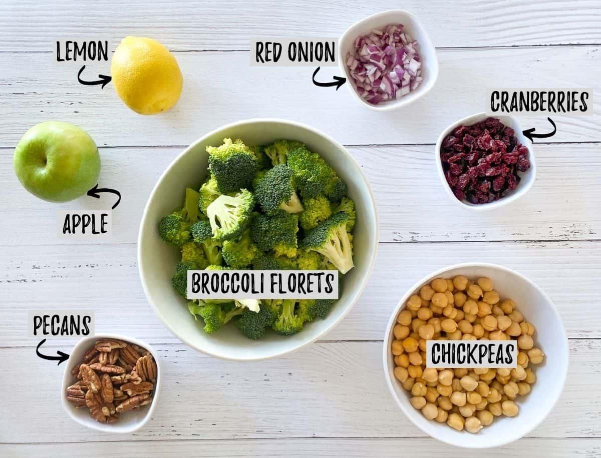 Ingredients to make broccoli cranberry salad.