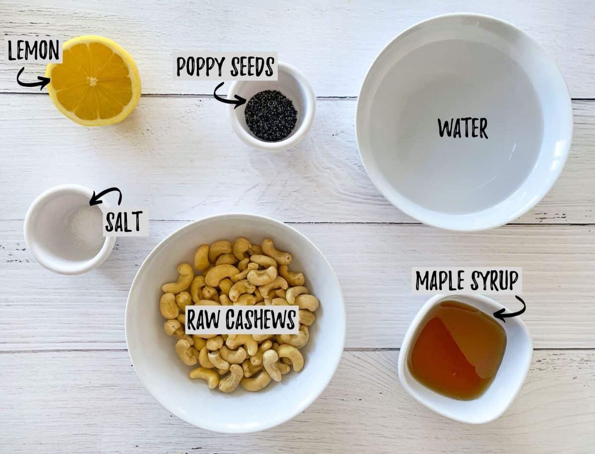 Ingredients to make vegan poppy seed salad dressing.