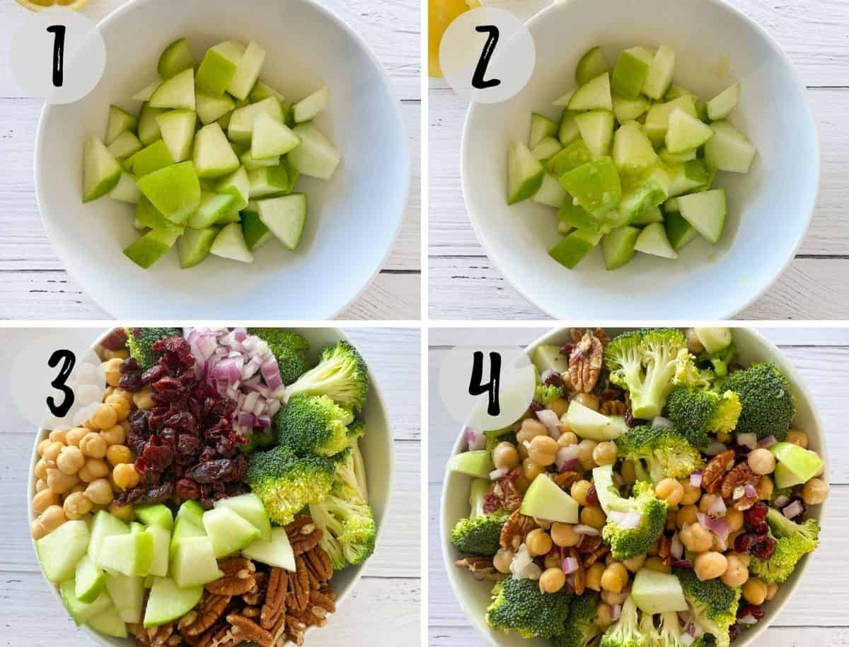 Diced apple in bowl and chopped broccoli, apple, cranberries, chickpeas and red onion in large salad bowl.