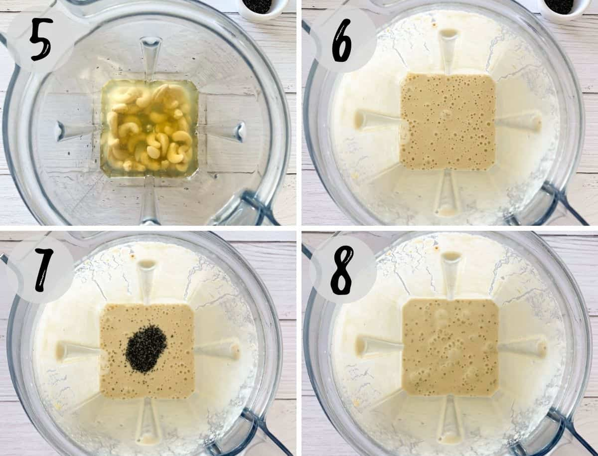 Cashews, seasoning and water being processed in blender to make dressing.
