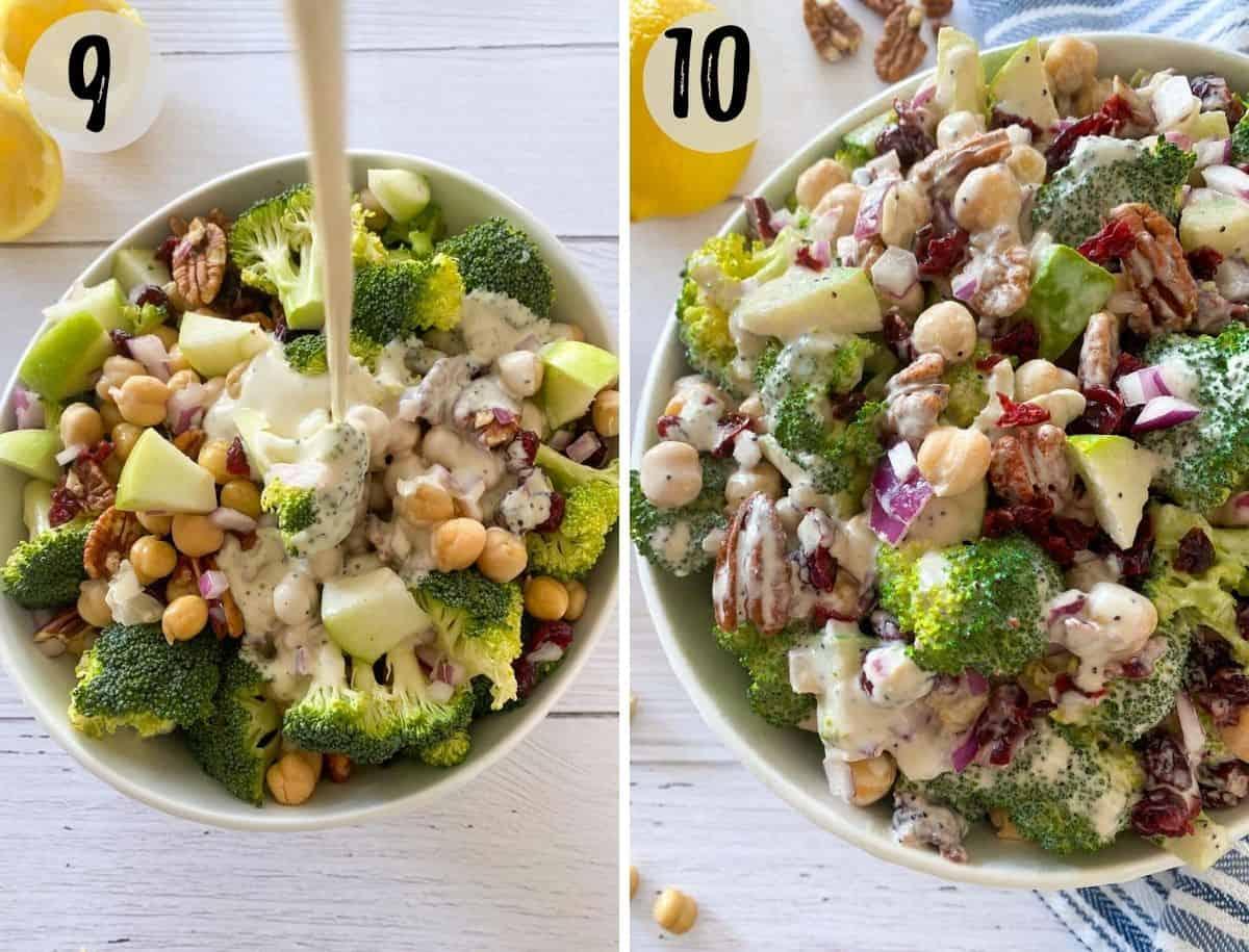 Salad dressing being poured over broccoli salad.