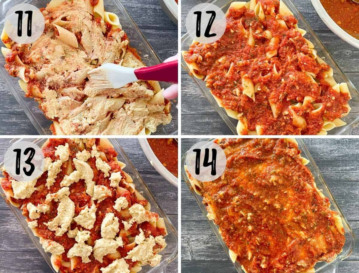 Silicone brush spreading cheese layer over pasta in casserole dish and more pasta and sauce added on top.