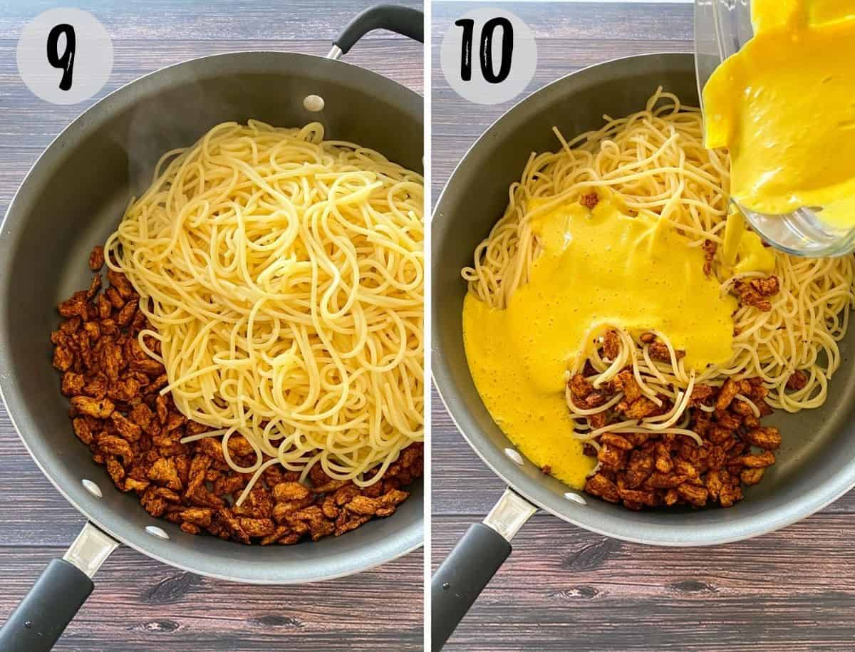 Deep skillet with soy curls and spaghetti, with yellow sauce being poured on top.