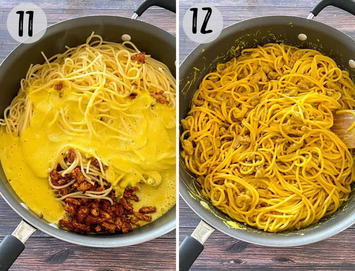Deep pan filled with spaghetti, vegan pancetta and a yellow sauce.