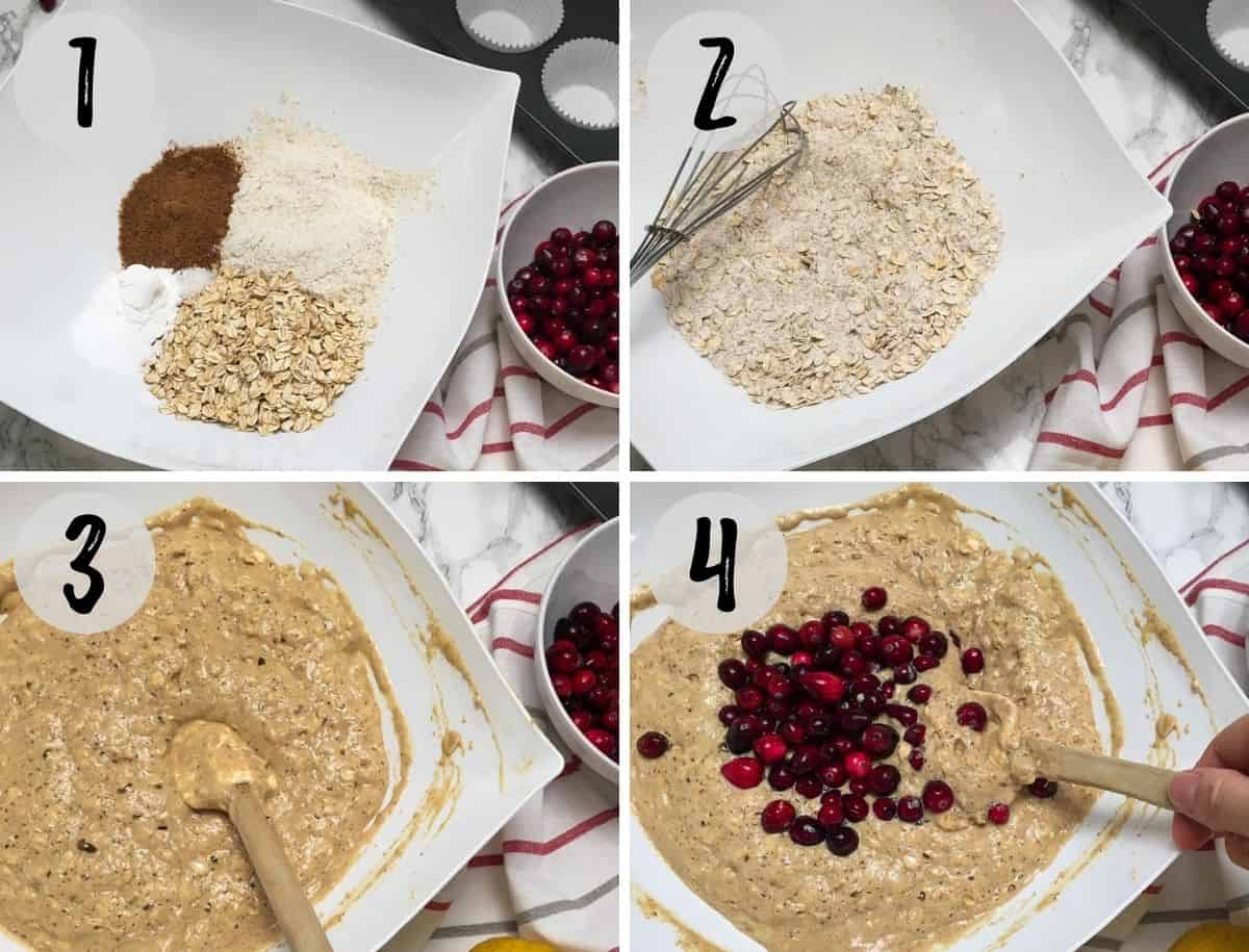 Large bowl with dry ingredients, then wet added and then cranberries added.