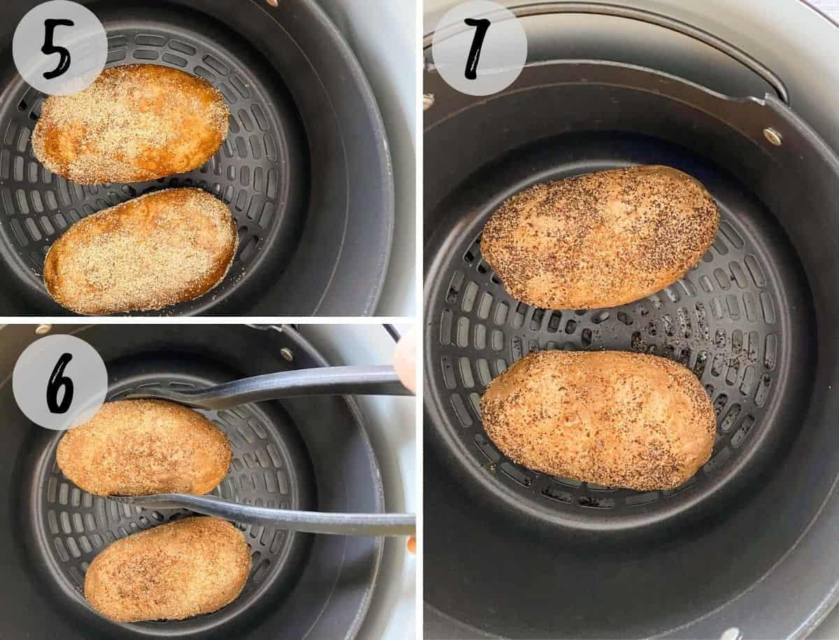 Russet potatoes inside air fryer basket.