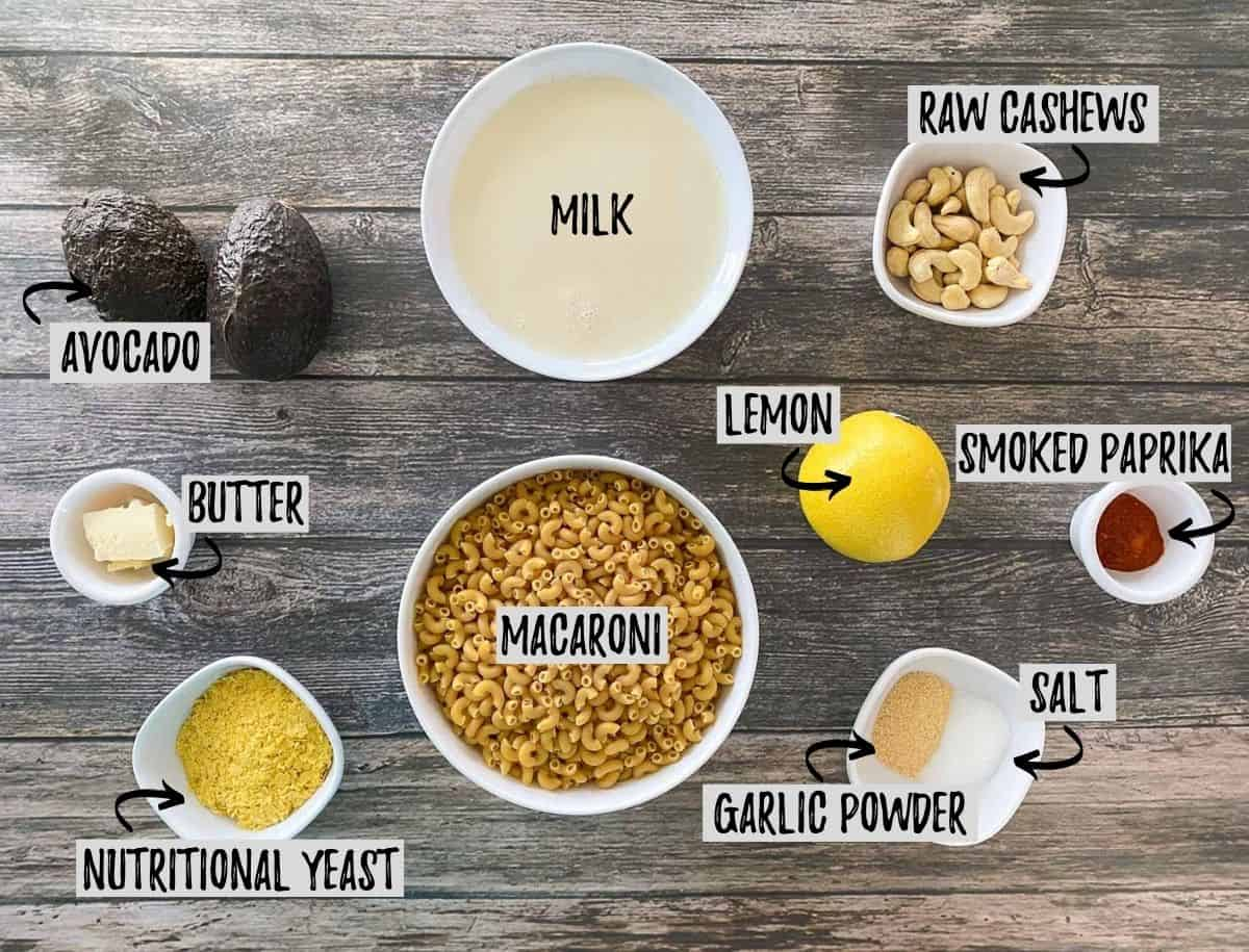 Ingredients to make avocado mac and cheese.