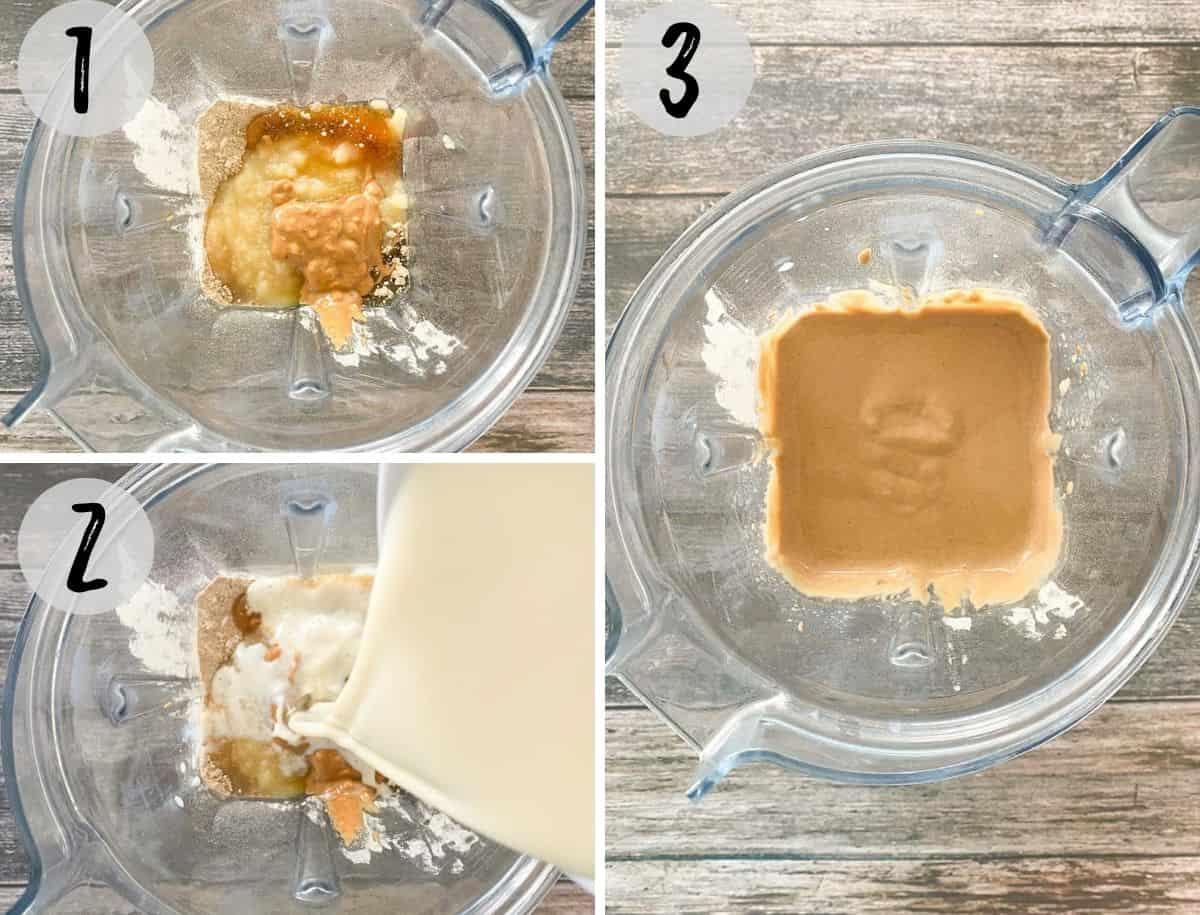 Pancake ingredients being blended into batter.