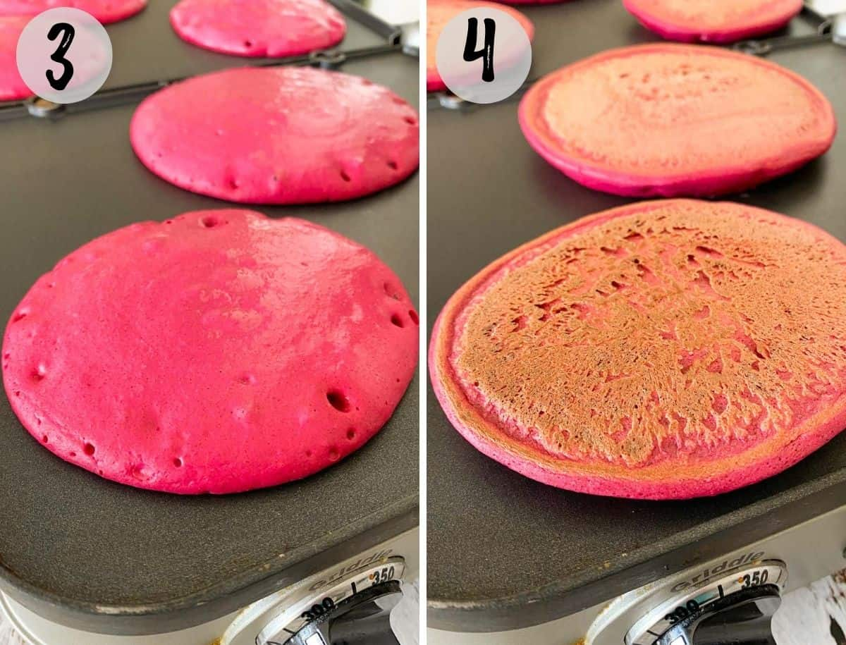 Pink pancakes on griddle before and after flipping.