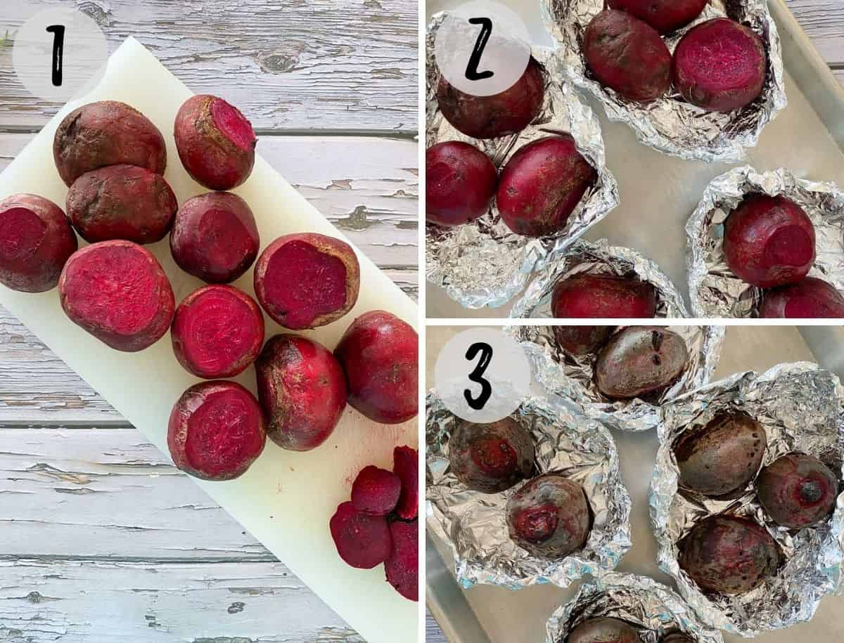 Beets on cutting board with tops sliced off and transferred to foil packet.