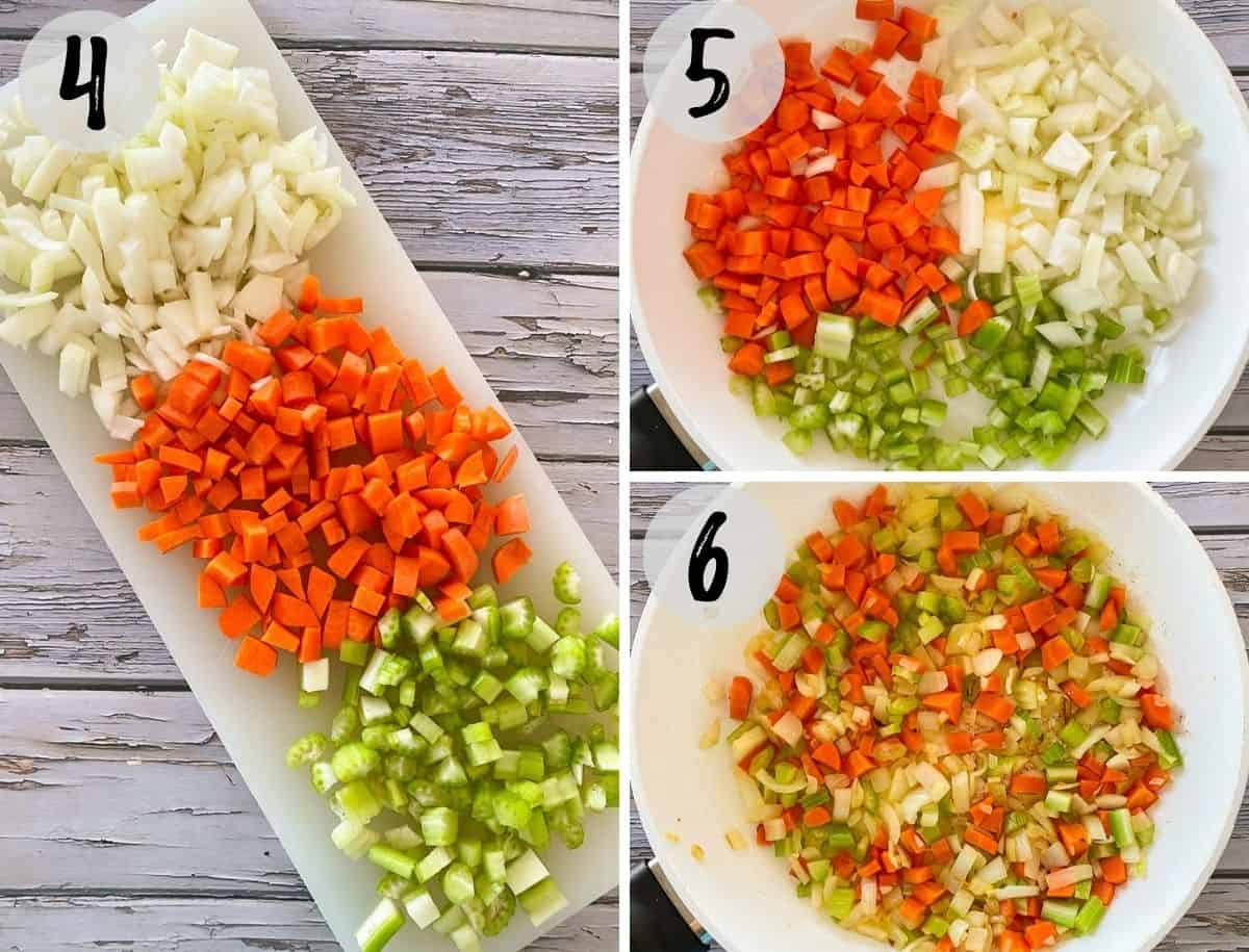 Chopped onion, carrot and celery on cutting board and then in pan being sautéed.