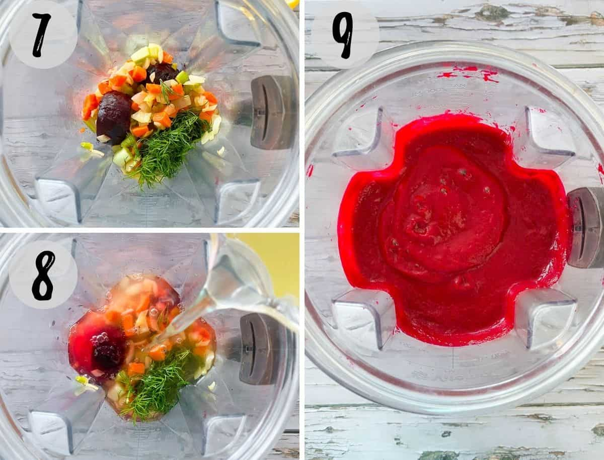 Beets, broth, veggies and herbs in blender being processed into soup.