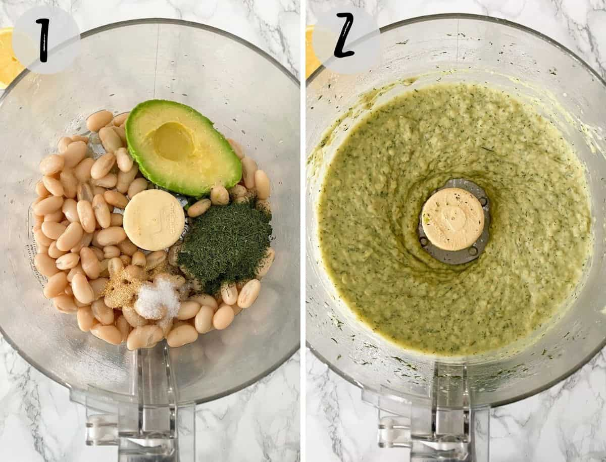 Food processor with avocado, white beans, dill weed, lemon juice and salt being processed into dip.