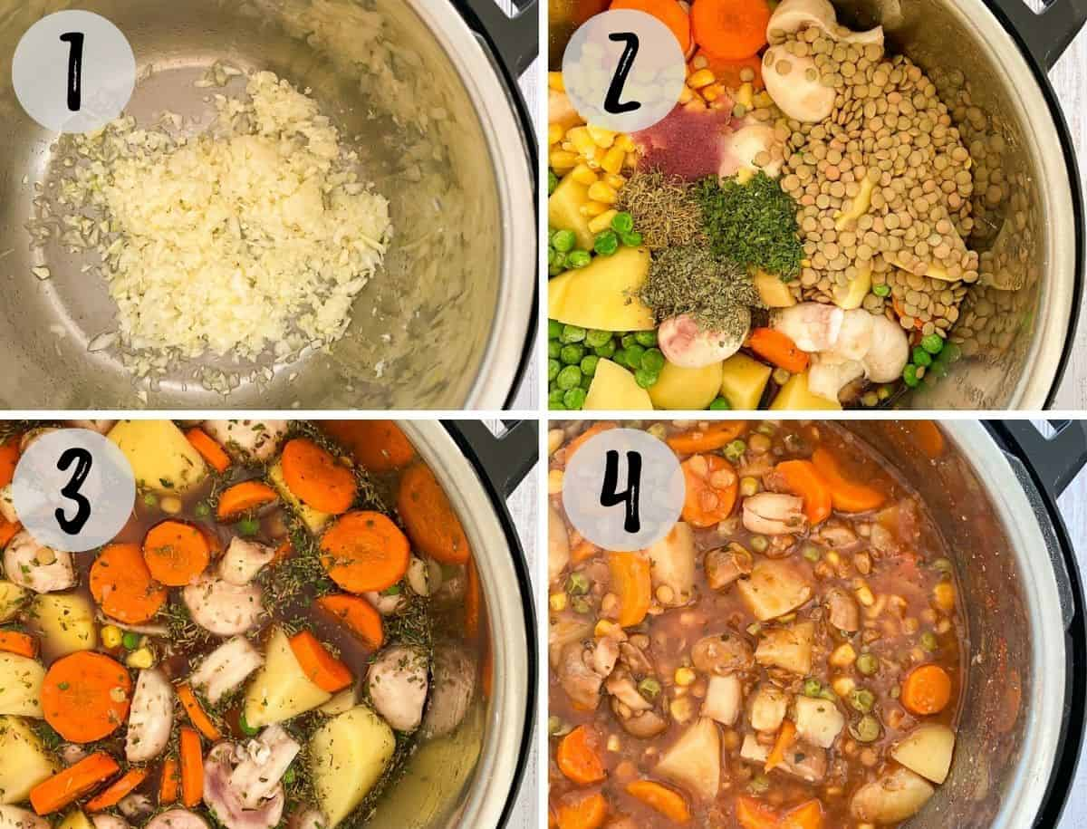 Instant Pot with onion, garlic being sautéed, and more veggies and broth added.