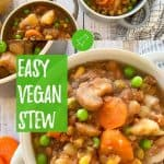 Instant Pot vegan stew PIN with text overlay.