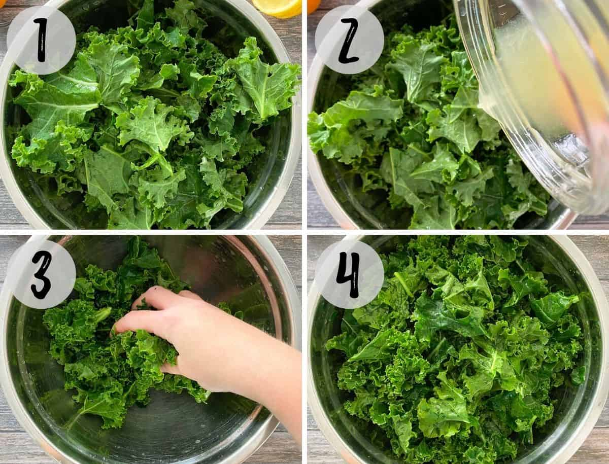 Kale in large mixing bowl with lemon juice being poured on top and massaged.