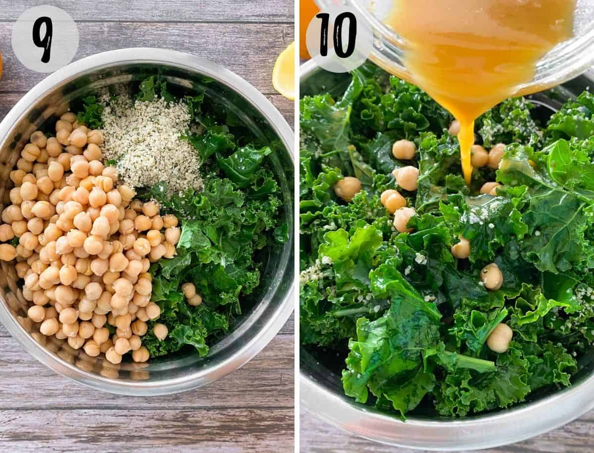 Large bowl with kale, chickpeas and hemp hearts and dressing being poured on top.