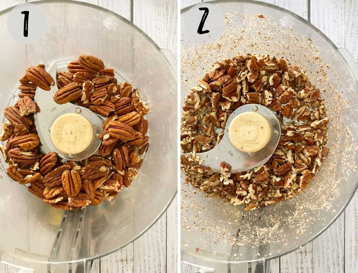 Pecans in food processor, before and after processing.