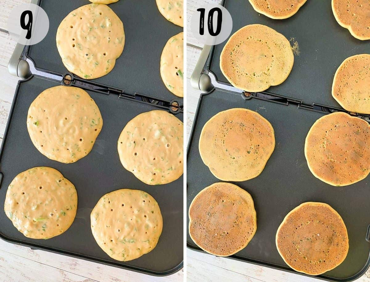 Lentil pancakes on griddle, before and after cooking.