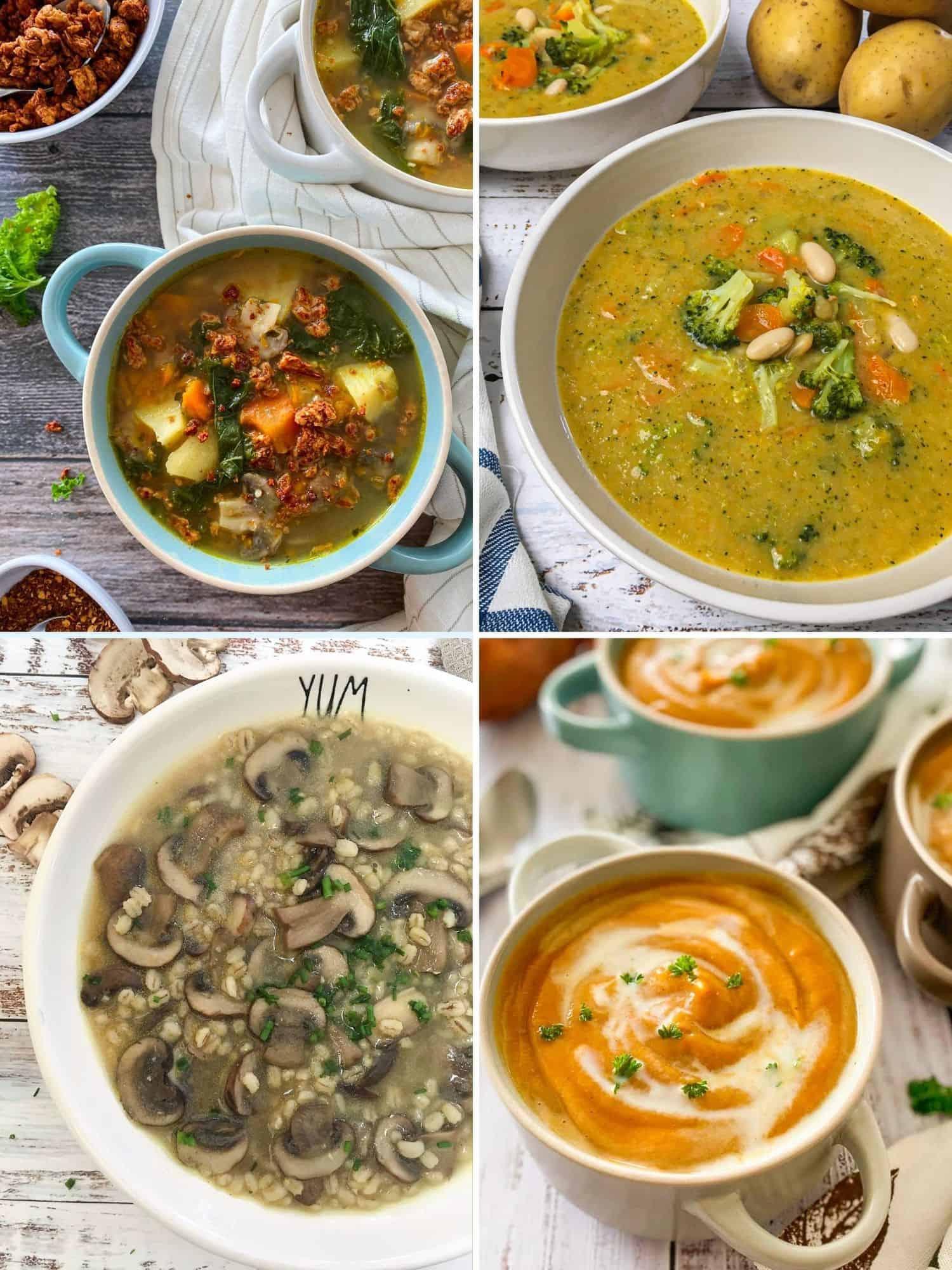 Collage of vegan soup recipes: zuppa toscana, broccoli soup, mushroom, sweet potato.